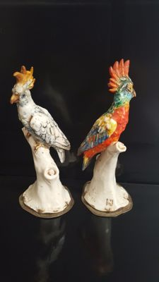 Pair of Macaws with Silver Bases 833/1000