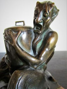 G. Grasegger - Art Deco bronze - sitting faun with an inkwell
