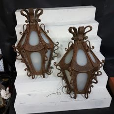 Pair of outdoor lanterns, made in cast iron with antique glass - Spain - from the 70´s