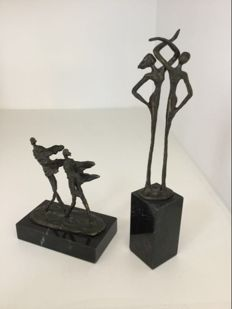 "Corry Ammerlaan van Niekerk - two bronze sculptures "" Dans "" and "" De wind mee """