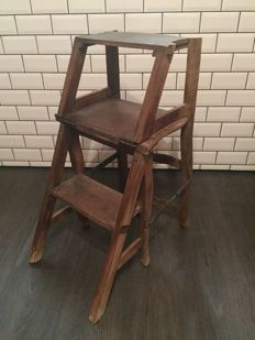 Wooden library ladder chair - England - early 1900's