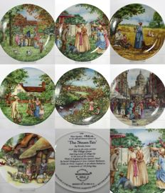Collection of 7 Decorative Plates - Wedgwood, Royal Doulton, Davenport - Village Life Scenes