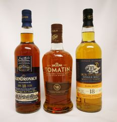"3 bottles - Glendronach ""Allardice"" 18 years old 46% abv. & Tomatin 18 years old 46% abv. & Glen Grant 18 years  old 1997 Dun Bheagan 46% abv."