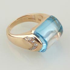 "Bvlgari – ""MVSA"" 18 kt rose gold ring with blue topaz, diamond pavé – Finger size: 51 Modifiable"