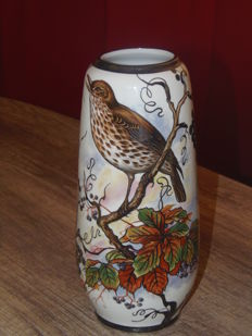 Beautiful Bohemian porcelain vase, hand-painted with sterling silver
