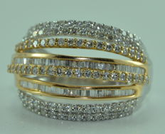 Two-gold ring (18 kt) set with 172 diamonds for about 3.50 ct - size 56 *** no reserve price ***