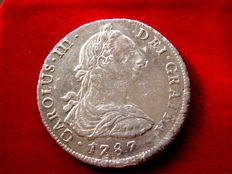 Spain – Carlos III (1759–1788), 8 reales silver coin – 1787 – Lima. M I.