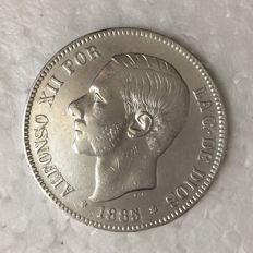 Spain – Alfonso XII – 5 Pesetas – 1885 (86) MS-M – Silver