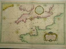 The Channel, England, France; J.N. Bellin - Carte réduite de la Manche (...) - 1763