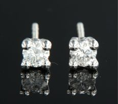 14 kt white gold, solitaire ear studs set with brilliant cut diamonds, width 3.9 mm