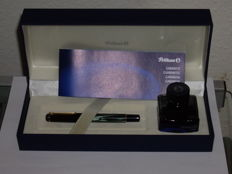 Vintage Pelikan M200 green marbled in gift box with inkwell - New Old Stock