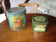 Two rare old shop tins -Meyer's Bonbons and Little Folk pudding powder - 1920  - 30