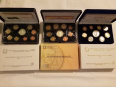 Italy - Divisional series, 2003-2004-2005 Proof (27 coins, including 3 silver coins).