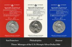 """United States, lot, dollar, 1984, """"Olympic Games Los Angeles"""", silver"""