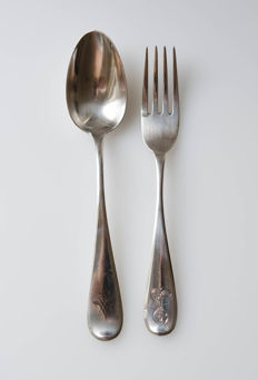Spoon and fork - 875 silver - «Бр. Грачевы», Saint Petersburg, Russia