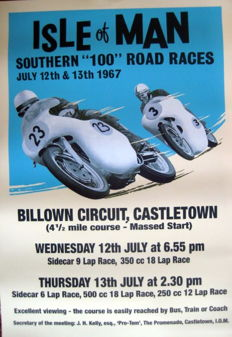 "Nostalgic Poster - Isle of Man - Southern ""100"" Road Races 1967"