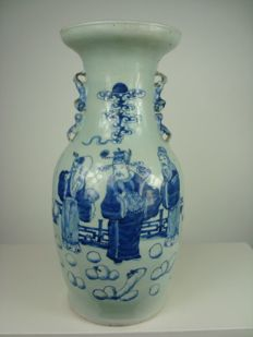 Celadon Baluster vase with Fu Luk Sau - China - second half 19th century