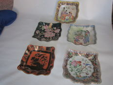 5 centrepiece dishes hand decorated - 20th century - China