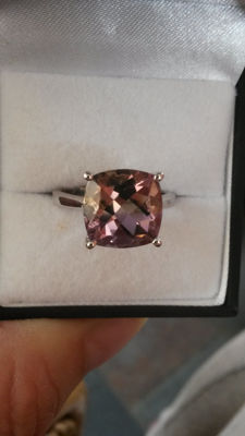 Unique & Exciting 4.89ct one source Ametrine from Bolivia cushion shape Dress ring