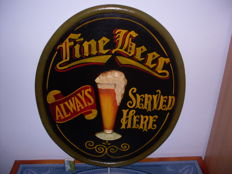 Fine Beer Always Served Here - pub - 50 x 60 cm, - hand painted - 20th century