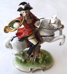 Porcelain figurine hunters on horse - Old Volkstedter Porcelain Manufactory in Thuringia