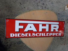 FAHR dieselschlepper tractor dealer enamel advertising sign