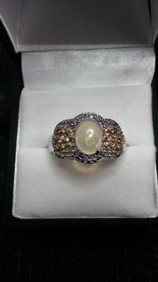 Beautiful Vintage 1920's style AAA Welo Opal, Brazillian Gouveia Andalusite and Zambian Amethyst Coctail ring. Rare stones
