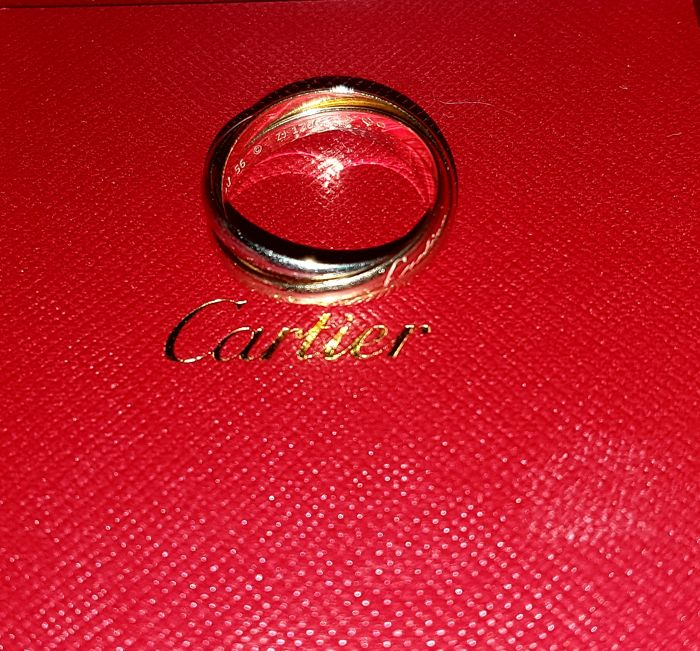"Cartier ""Trinity"" ring in 18 kt white, yellow and rose gold - size: 56"