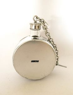 FIAT - original branded hip-flask steel and glass