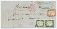 Italy – Old States – Sardinia – letter mailed on 1 April 1857 from Turin to Toulouse with a 5 cent green/emerald vertical pair, Catalogue no. 13d and 40 cent soft vermilion Catalogue no. 16