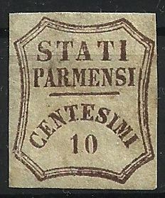 Parma 1859 Provisional Government, dark brown 10 Cents.