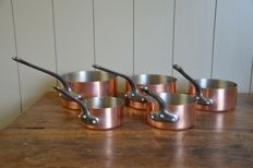 Set of five professional tinned copper pots - in excellent condition - perfect for cooking