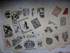 Ex-libris; Lot with 50 bookplates designed by André Herry - 1936/1960