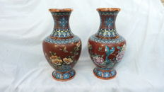 Two cloisonné vases - China - late 20th century