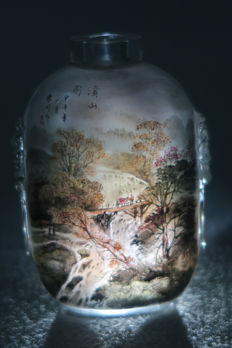 Snuff bottle - painted on the interior and signed (XueChuan) - China, 21st century
