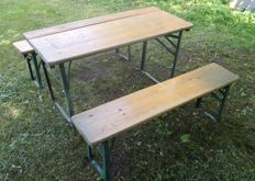 Collapsible table with benches for children - wood and metal
