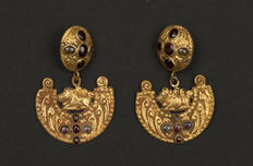 A pair of gold earrings - Vietnam - Cham Kingdoms , 10/11th century