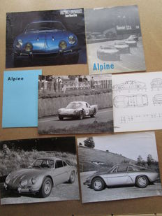 Alpine Renault Berlinette A110 - set of 7 brochures and photos - circa 1960
