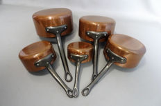 Signed Les Cuivres de Faucogney , Set of Five Vintage French Copper Pans Cast Iron Handles