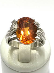 18 kt yellow gold ring, diamonds and citrine - size 58/19.10 mm