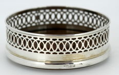 Antique silver plated wine coaster with wooden base interior, ca.1930