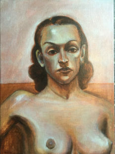 Original work; Unknown artist - Portrait of naked woman - 1979