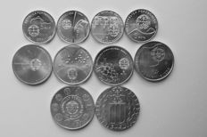 Portugal – 5, 8 and 10 Euro silver 2003/2006 commemorative issues  (10 different ones)