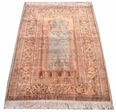 Fine Quality Hand Knotted Turkish Kaisery Silk Prayer Carpet Area Rug 132 cm x 86 cm