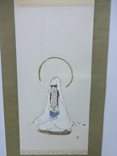 Japanese hanging scroll,  with the painting of Guanyin - Japan - mid 20th century