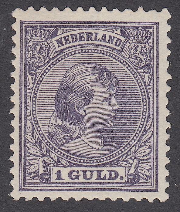 The Netherlands 1891 - Princess Wilhelmina 'flowing hair' - NVPH 44, with inspection certificate