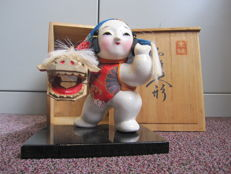 Medium size ceramic Japanese Kaga ningyo doll - Japan - Mid-20th century