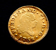 Spain – Fernando VI – 1/2 Escudo, 1758, Madrid JB - gold.