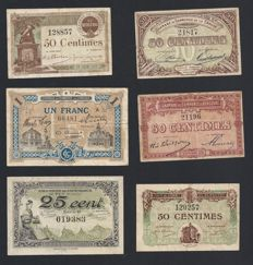 France - Collection of 42 diferent Chambres de commerce banknotes