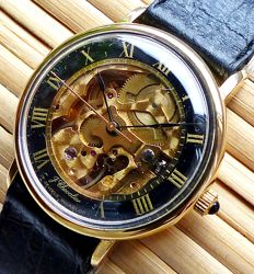 J. Chevalier Swiss Skeleton 17 jewels -- men's wristwatch from the 1970s